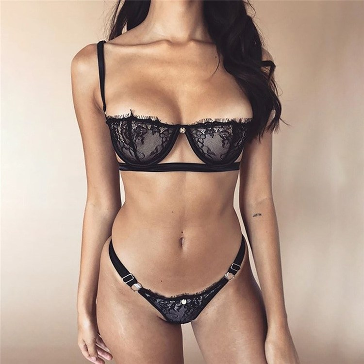 New Lace Sexy Bra Set - Seamless 1/2 Cup Lingerie Set - Transparent Bra - Thin Soft Underwear
