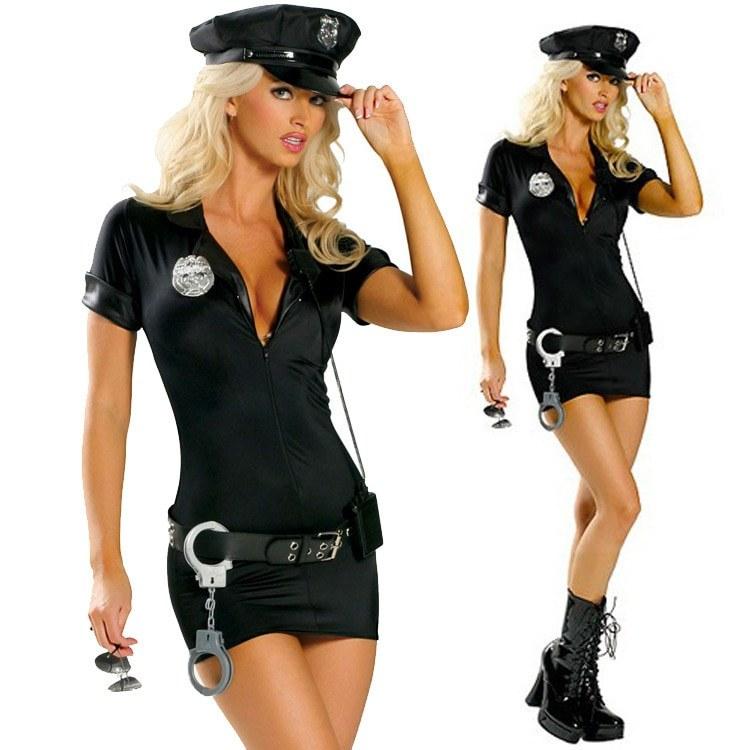Sexy Female Cop Police Officer Uniform - Policewomen Costume - Halloween Cosplay Fancy Dress