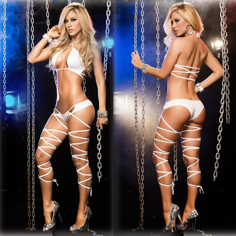 Hot Two-piece Set Nightclub Bandage Pole Dance Clothing Costume