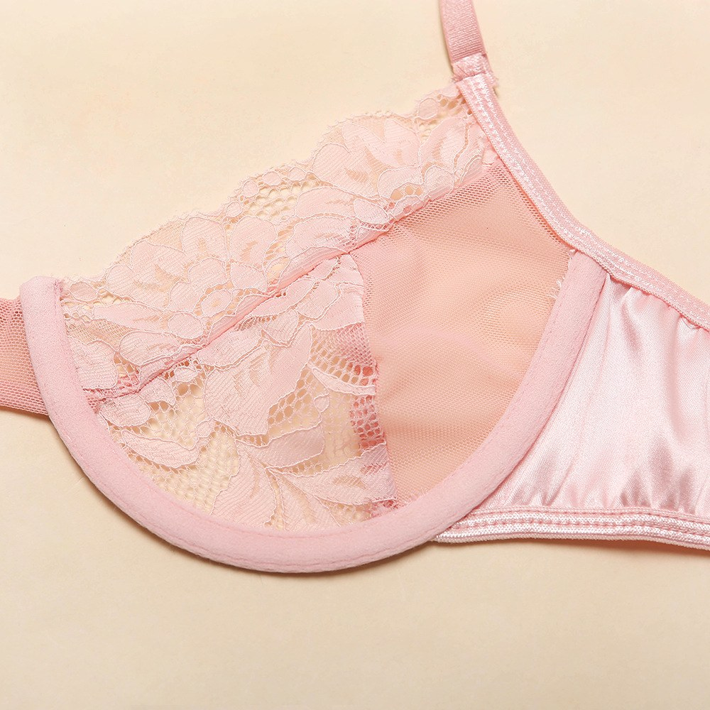 3pcs Pink Sexy Bra and Panty Set - Intimate Clothes