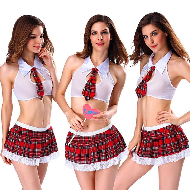 Sexy Schoolgirl's Outfit Set with Tie Top Shirt and Mini Skirt