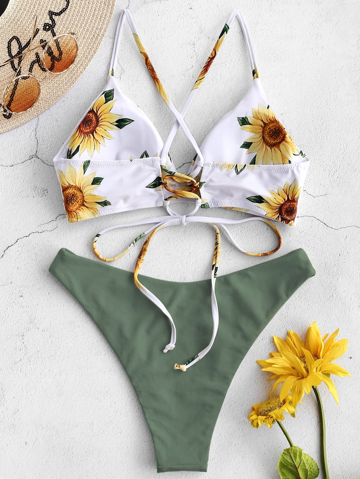 Sunflower Printed Bikini Set - Swimwear - Bathing Suit