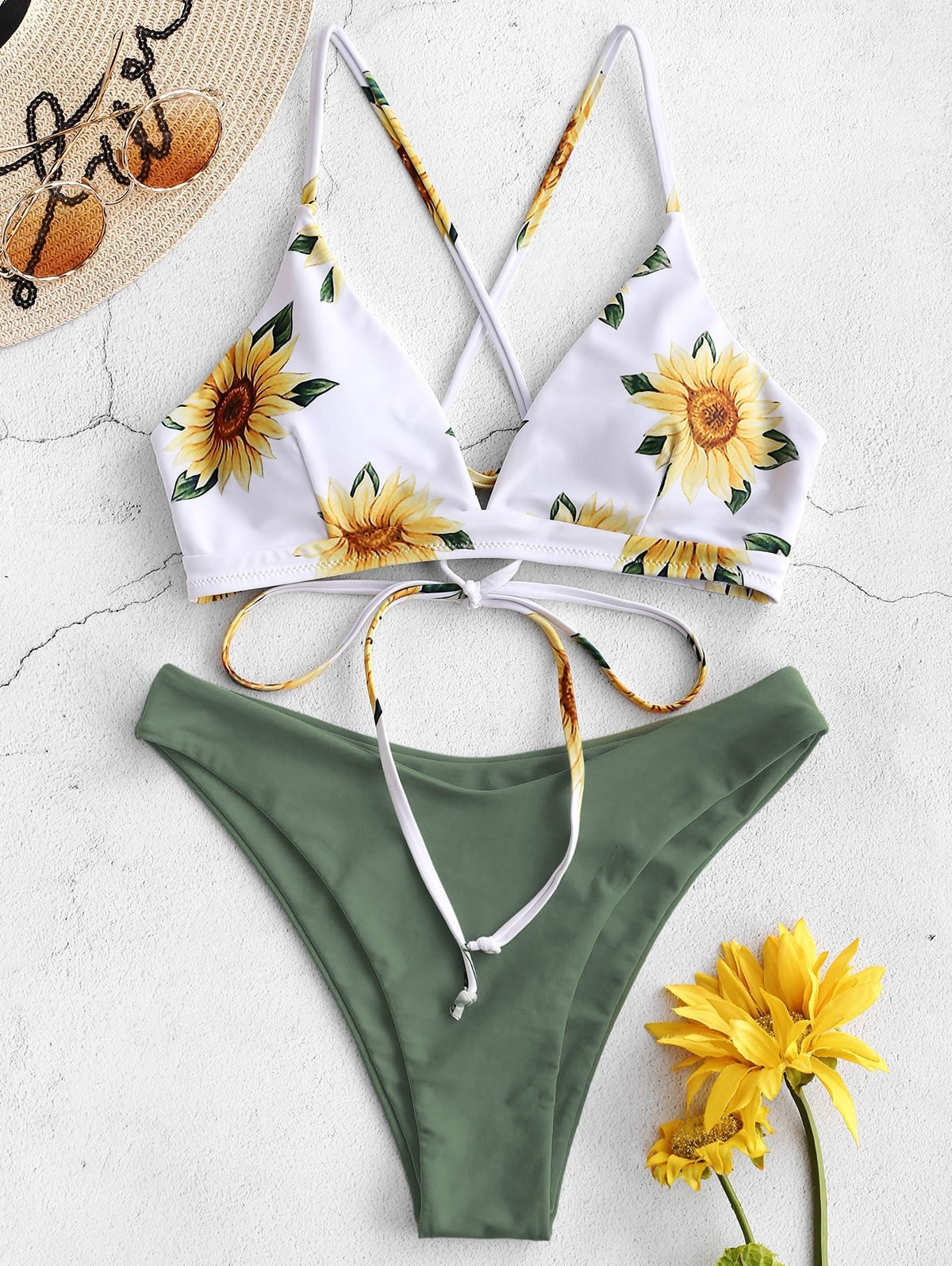 Sunflower Printed Bikini Set - Swimwear - Bathing Suit