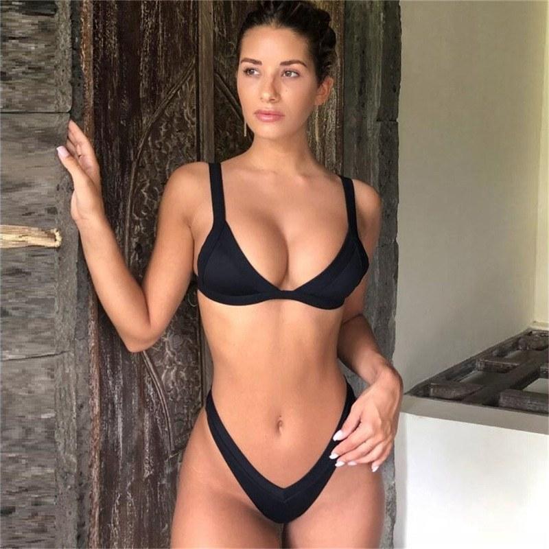 Solid Black Swimsuit - Women Swimwear - Push Up Bikini Set
