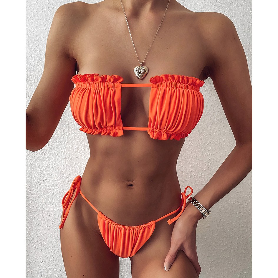 Pleated Bandeau Female Swimsuit - Women Mini Thong Bikini Set