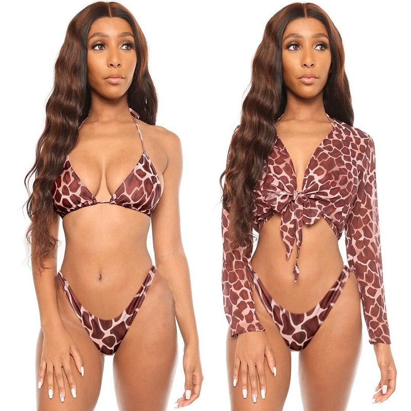 Three Pieces Bikini Set With Bell Sleeve Bikini Cover Up