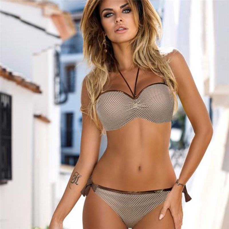 Bikini Set Push Up Swim Suit - Snake Skin Splicing Backless Swimwear