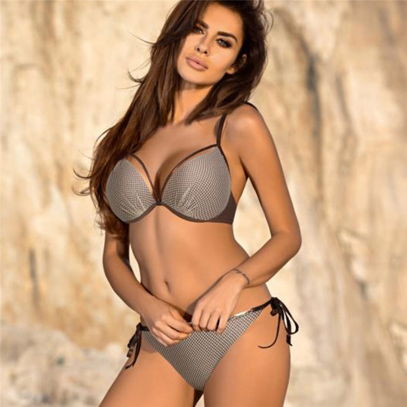 Bikini Set Push Up Swim Suit - Snake Skin Splicing Backless Swimwear