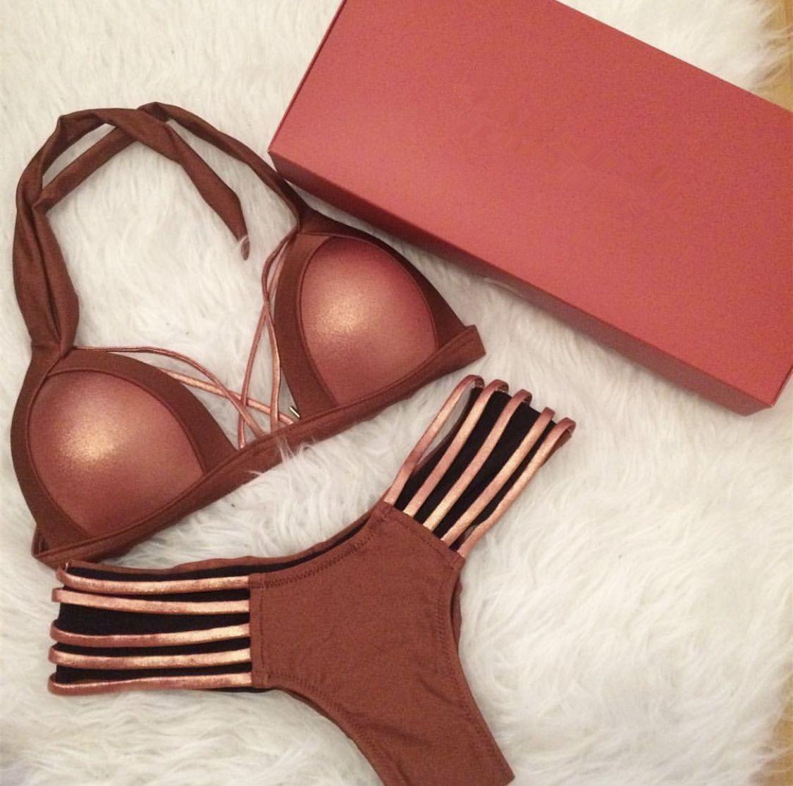 Sexy Extreme Bandage Bikini Set - Gold Black Shiny Brazilian