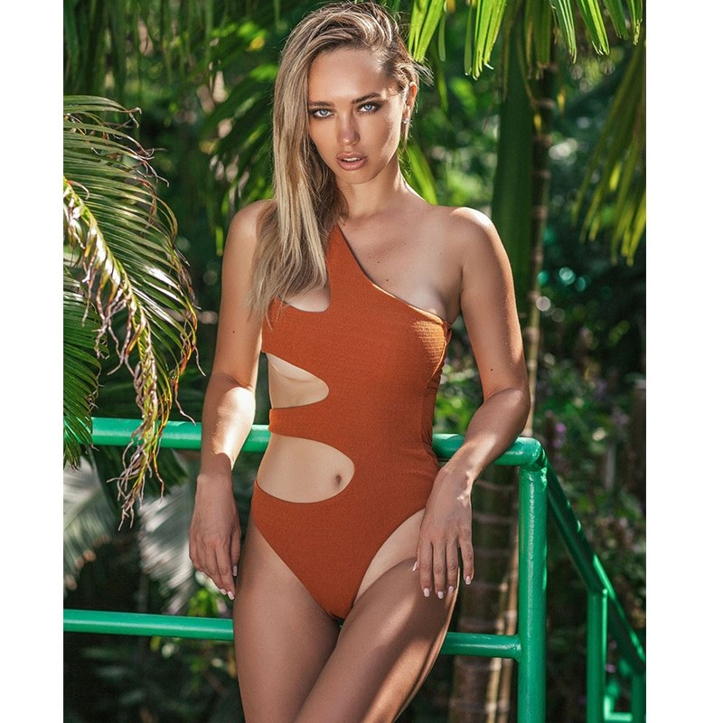 White One Piece Swimsuit - Cut Out Monokini