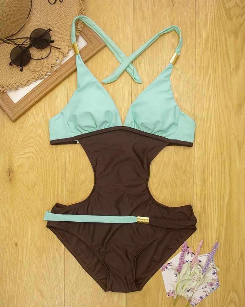 Women Plus Size One Piece Swimsuit - Monokini V neck Suit