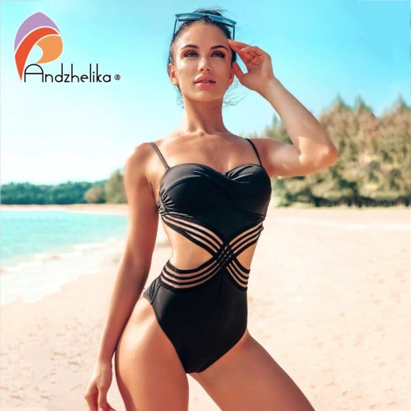 Sexy One-piece Swimsuit - Patchwork Mesh Backless Monokini