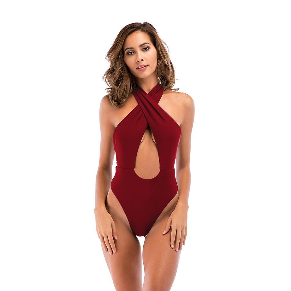 Sexy One Piece Swimsuit - Cross Halter High Cut Monokini