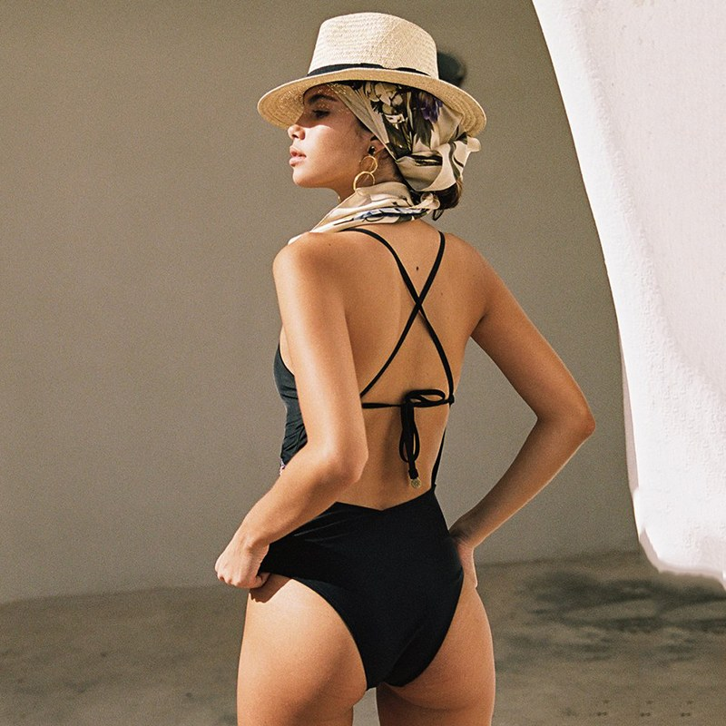 2020 Sexy Black Cut Out Monokini One Piece Swimsuit