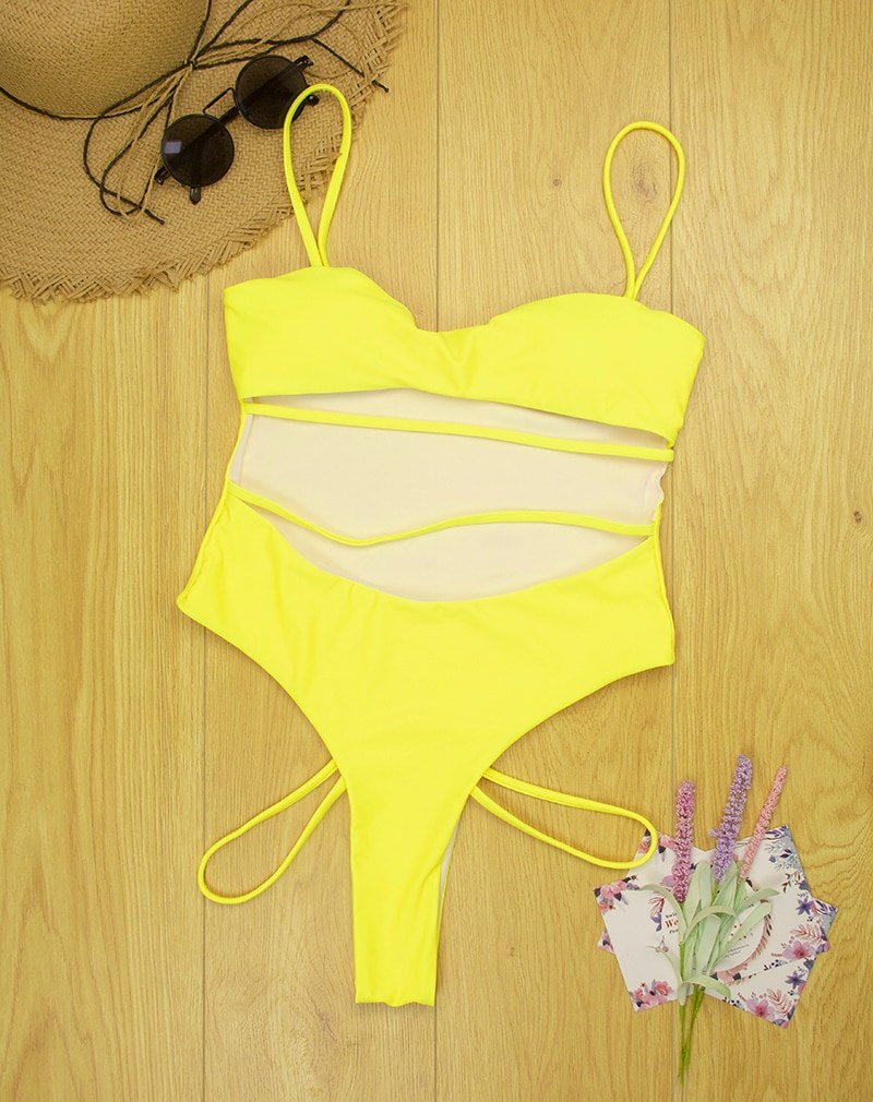 Sexy Thong One Piece Swimsuit Yellow Pink Black Blue