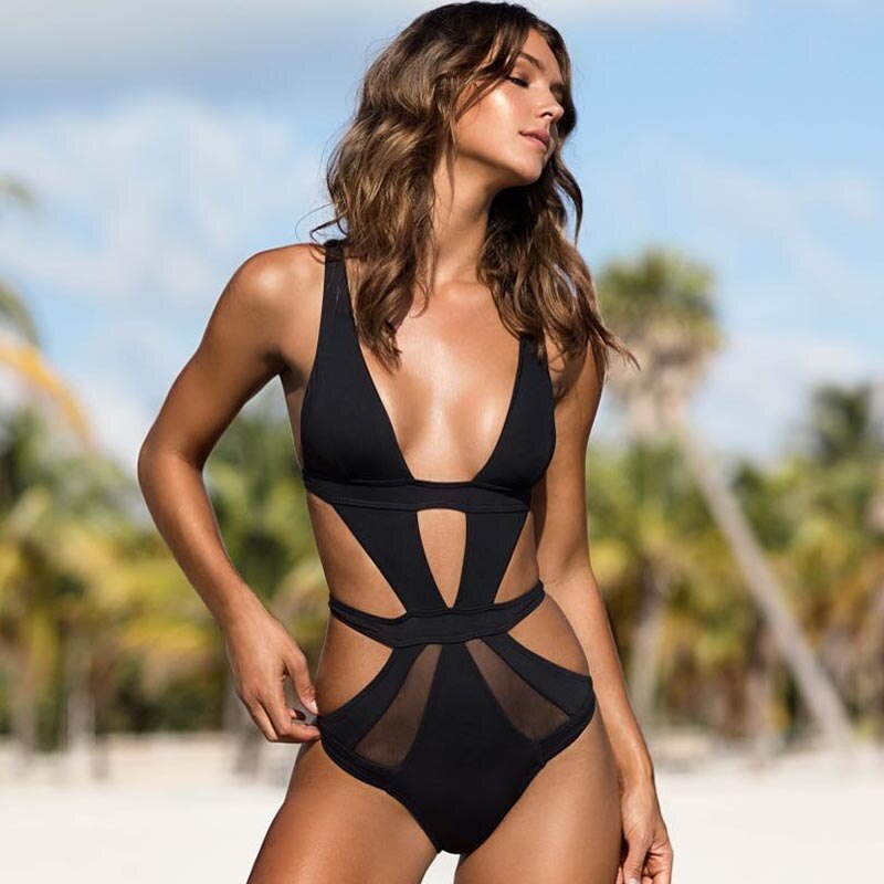 Black One Piece Sexy Mesh Swimwear Plunge V Monokini