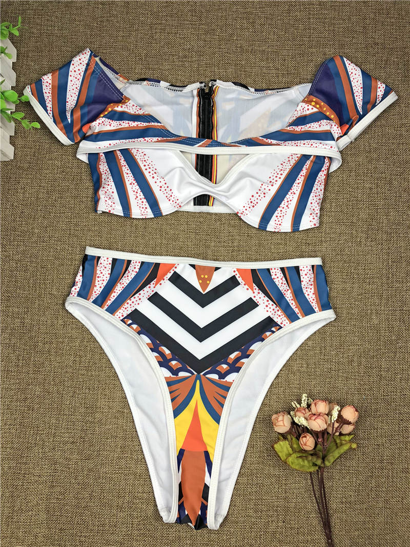 African Print High Waist Swim Bathing Suit - Two Piece