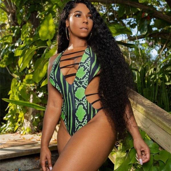 Plus Size African Style Monokini - Snake Skin Bathing Suit