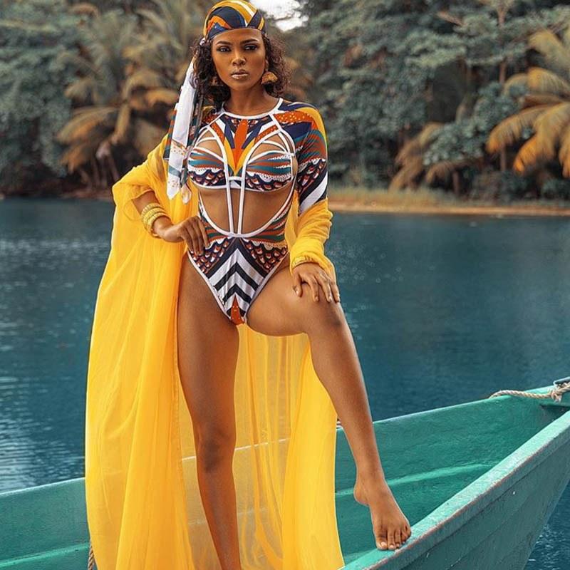 2020 Totem Print Monokini - African Tribal Swimsuit -