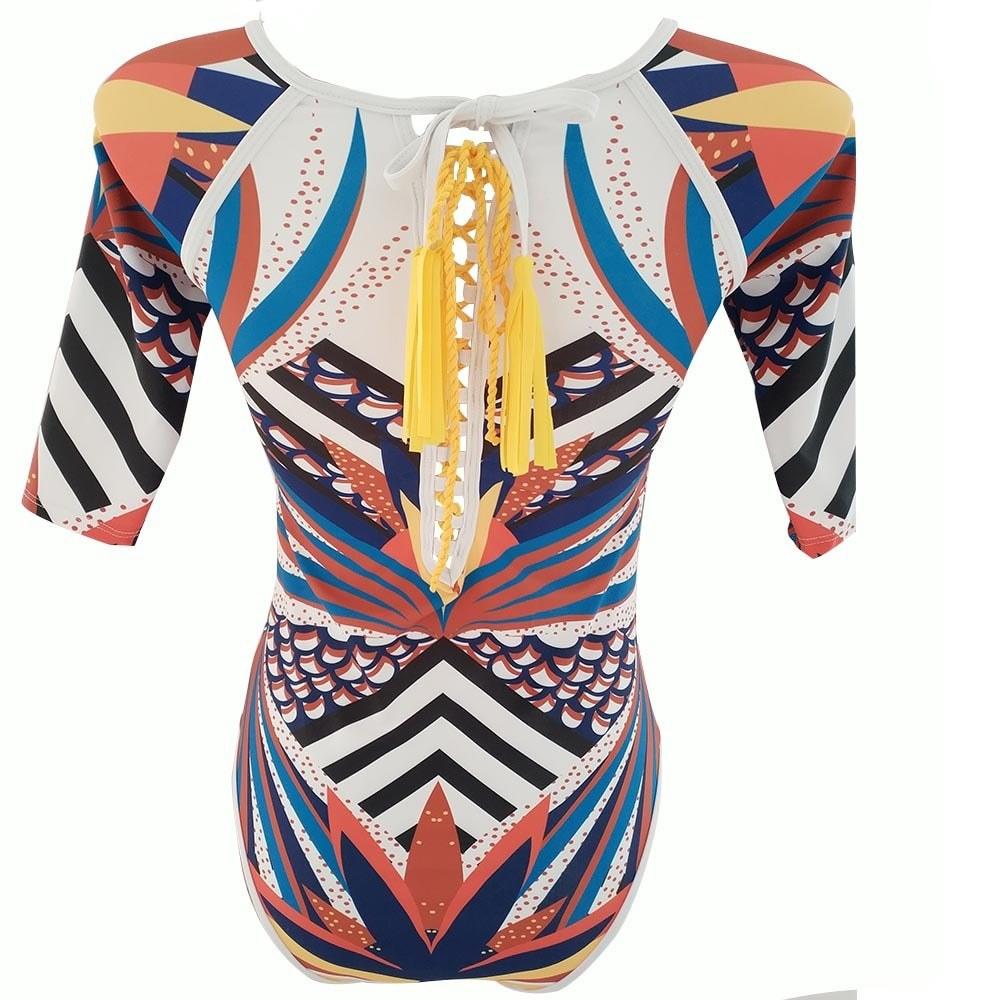 Totem Print One Piece Swimsuit - Mesh Long Sleeve Monokini