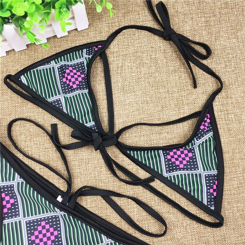 African Print Style Bikini - Triangle Low Waist Bathing Suit