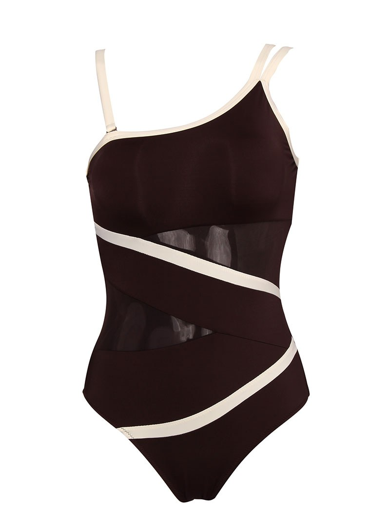 Sexy Off Shoulder Mesh Patchwork Monokini - Swimwear