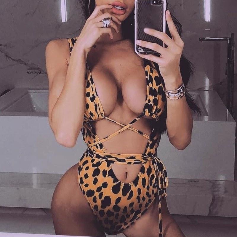 Red leopard Brazilian swimsuit - Plus size sexy monokini