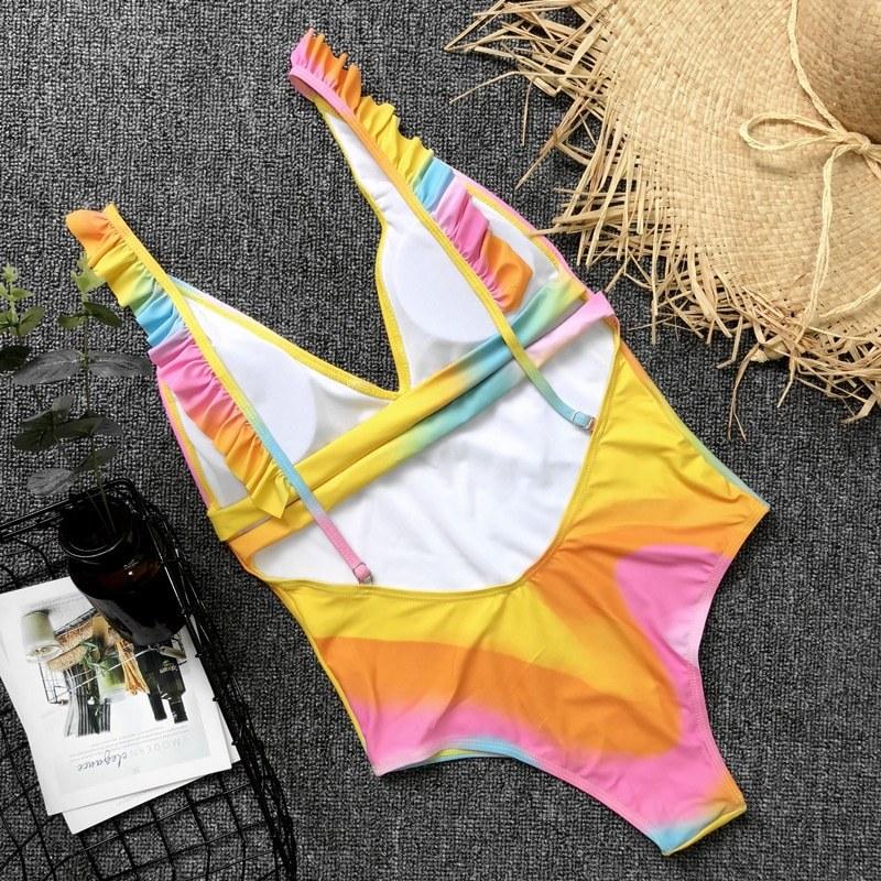 2020 Sexy Leaf Print Swimsuit - Women Ruffle Monokini