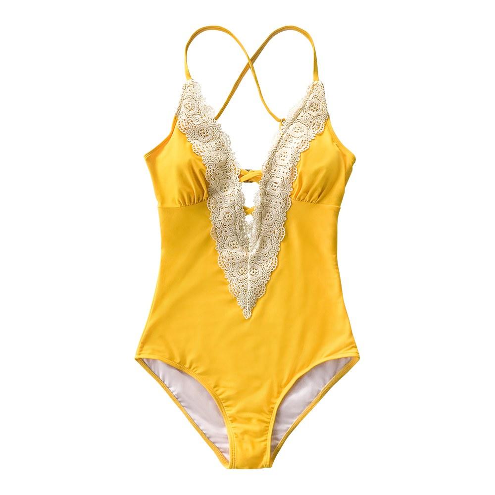 Lace Splicing Back - Hook Closure Vintage V-neck Backless Monokini