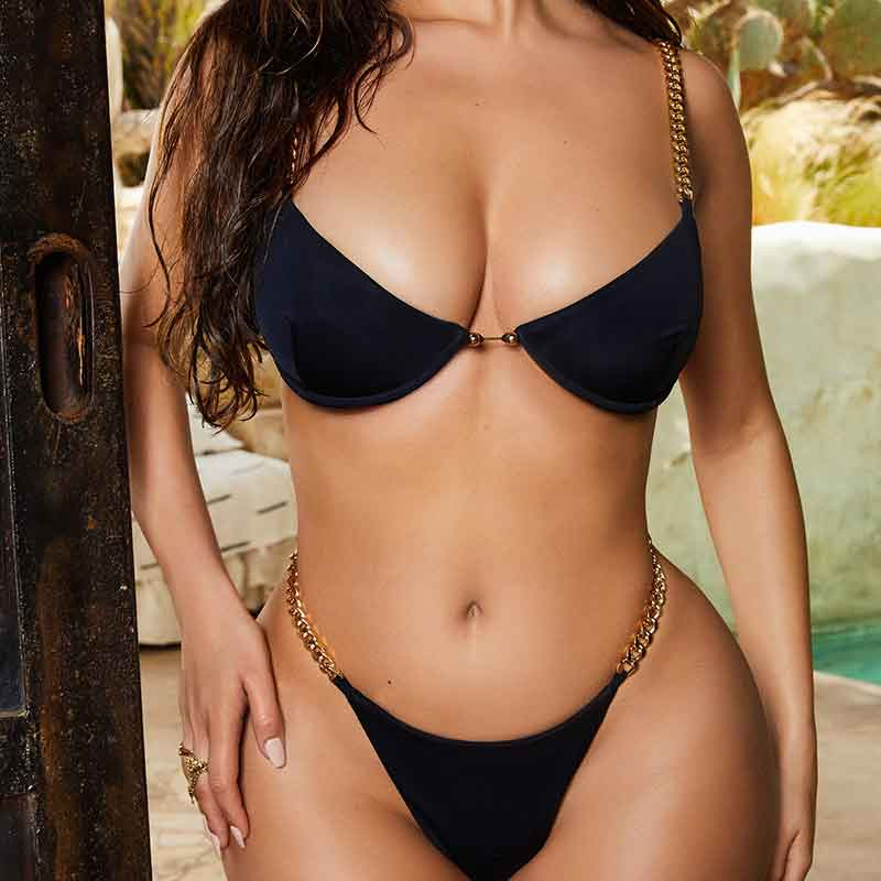 Sexy thong bikini - High cut bodysuits - female Ring monokini