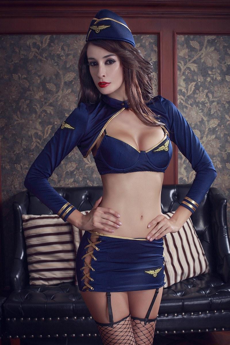 Blue Stewardess Cosplay Uniforms - Sexy Waitress