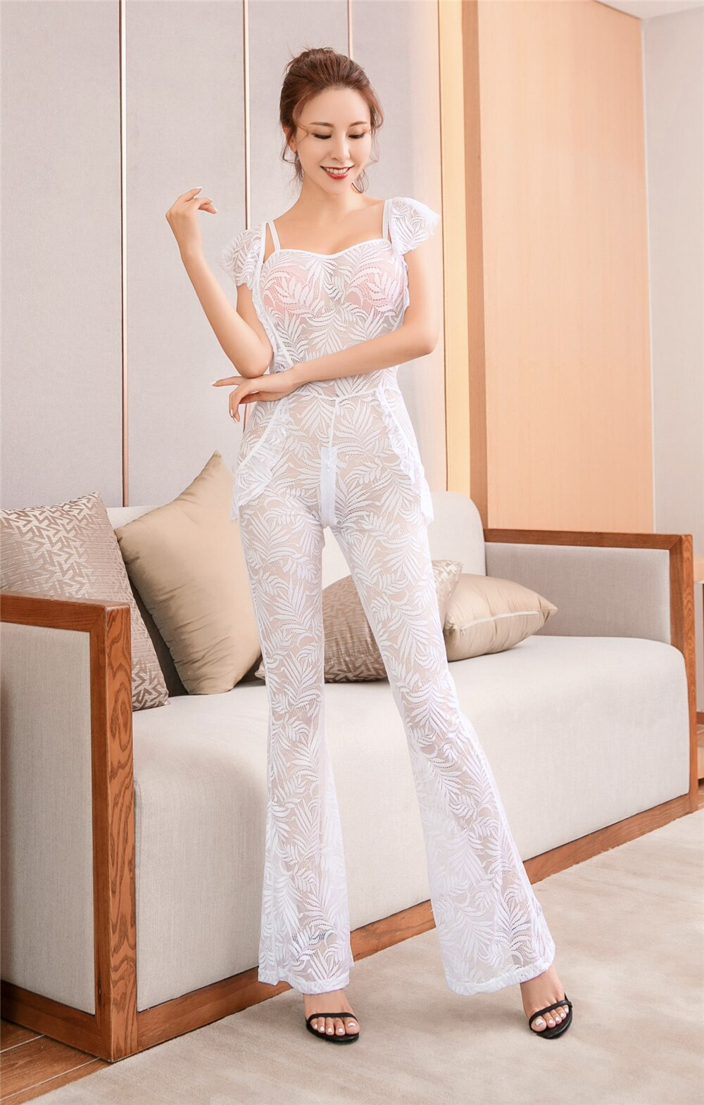 See Through Babydoll - Bodystocking Lace Sleeveless Rompers