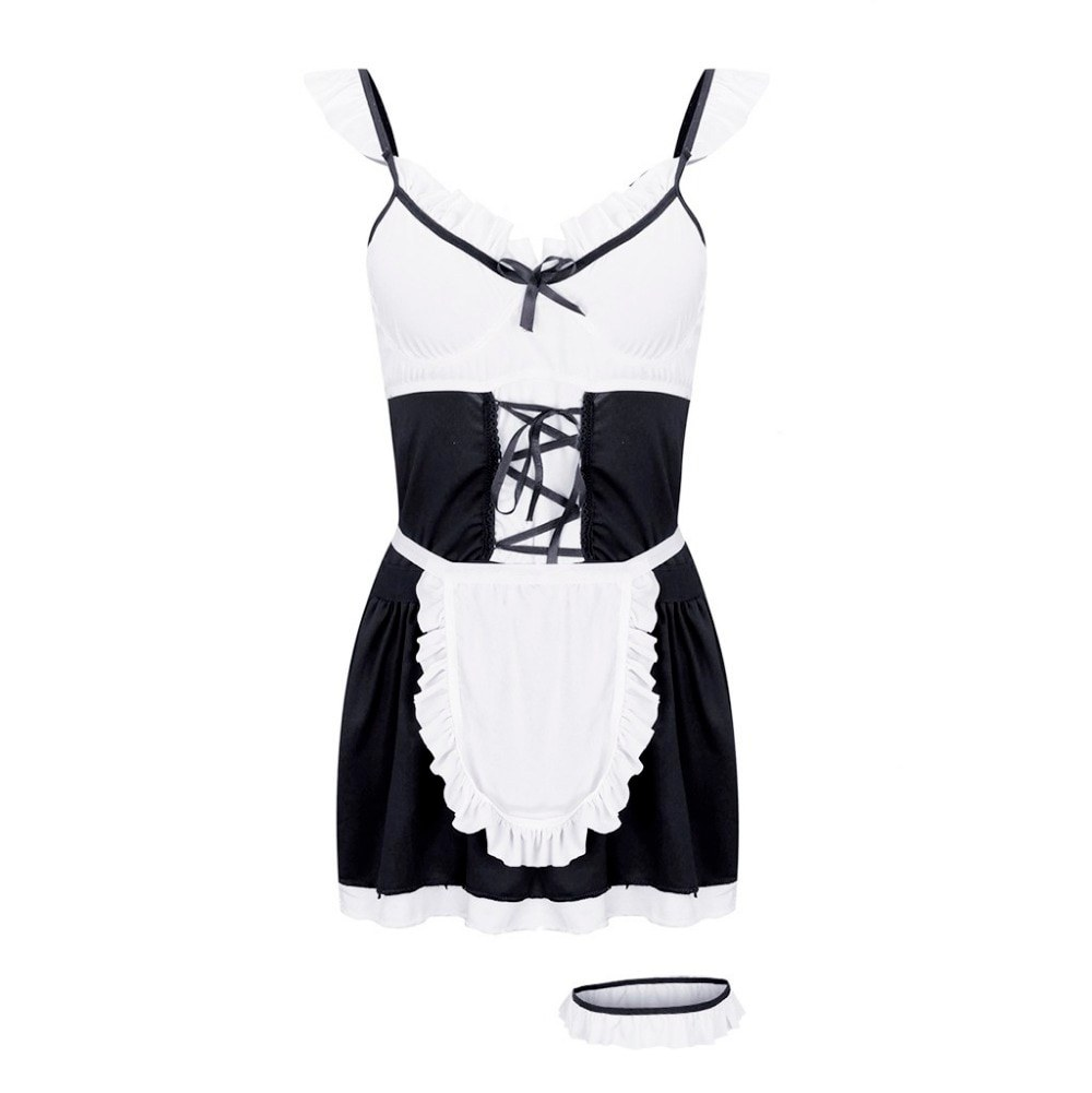 Maid Erotic Cosplay Backless Plus Size Porno Dress