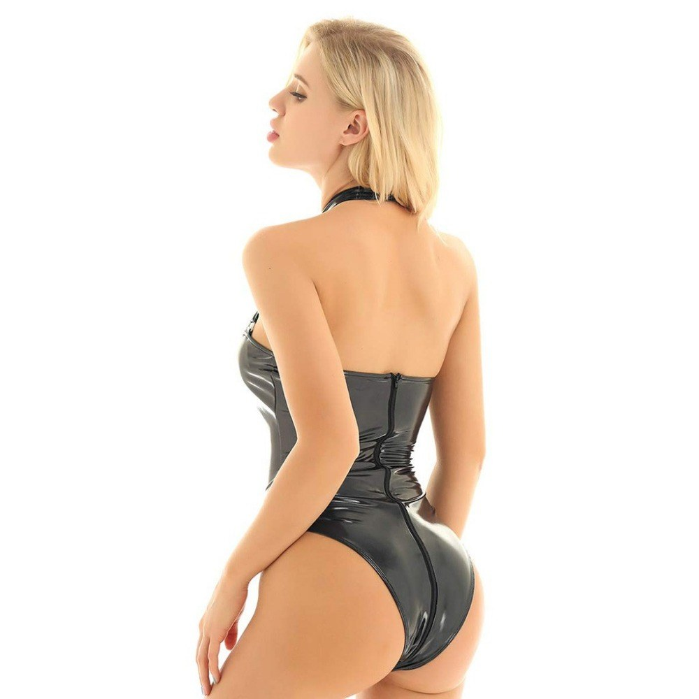 Erotic Babydoll - Sexy Leather Lingerie - Women Zipper Sex Corset