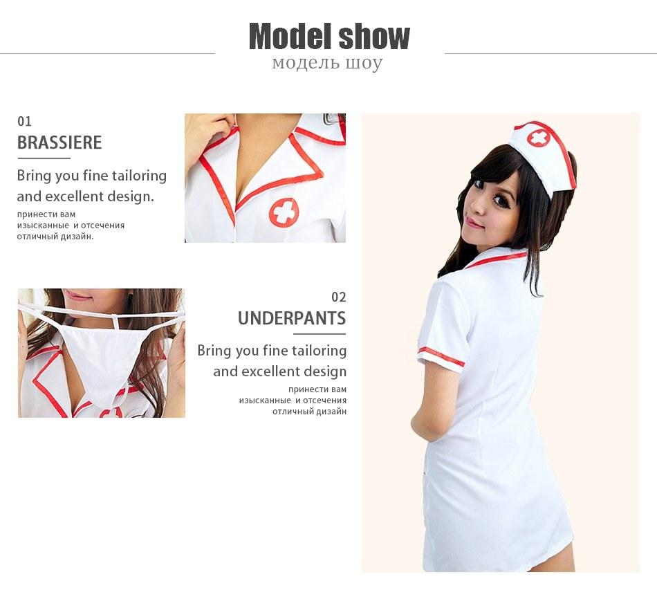 Nurse Costumes - Fantasias Uniform Tempt V-Neck Cotton Dress