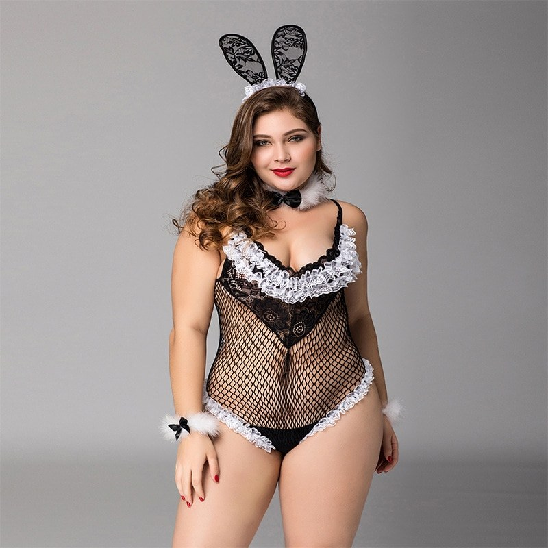 Sexy Hollow Rabbit Girl - Big Size Fun Uniform - Temptation Lingerie