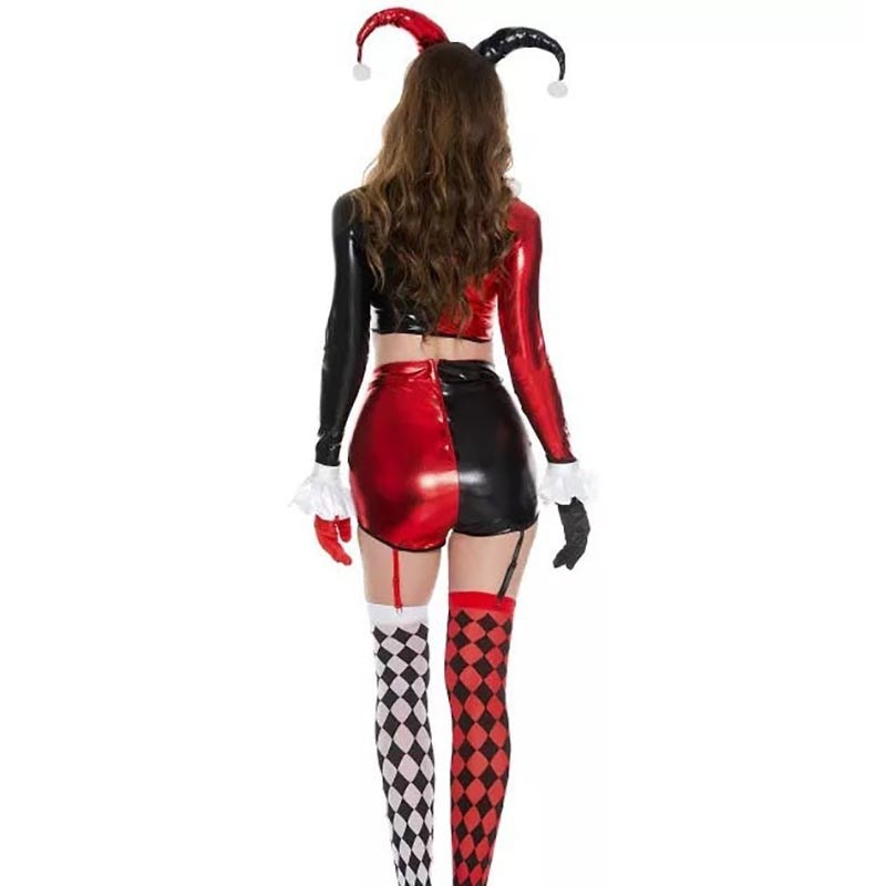 Adult Harley Quinn Costume - Funny Clown Halloween Joker Suit