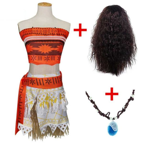 Adult Vaiana Moana Costume - With Necklace and Wig - Cosplay