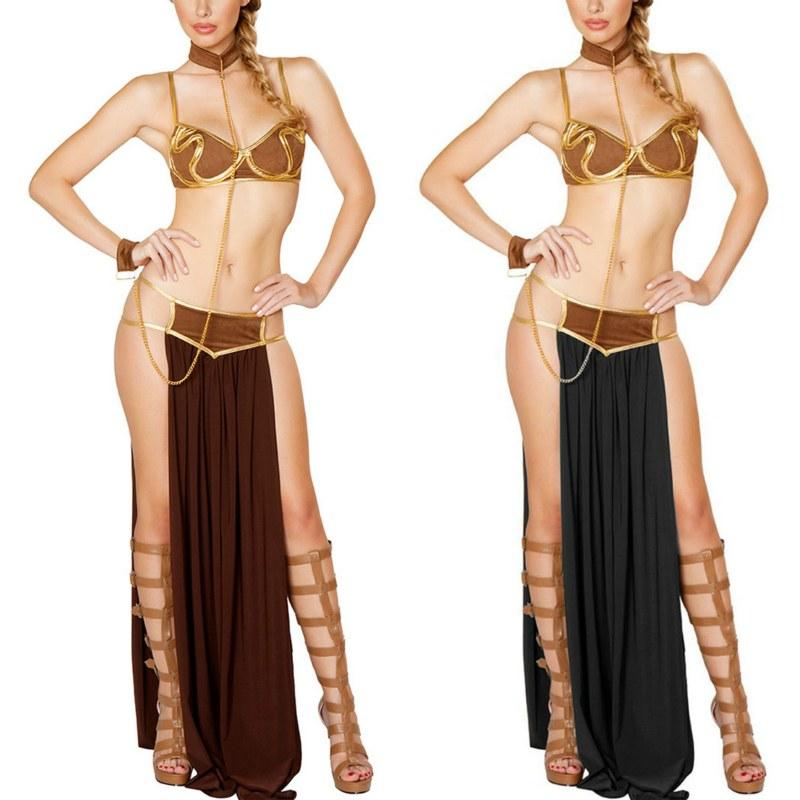 Cosplay Star Wars Anime Costumes - Princess Leia Slave Bra+skirt Black