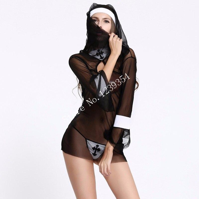 Sexy Nuns Uniform - Transparent Halloween Cosplay Costume Set