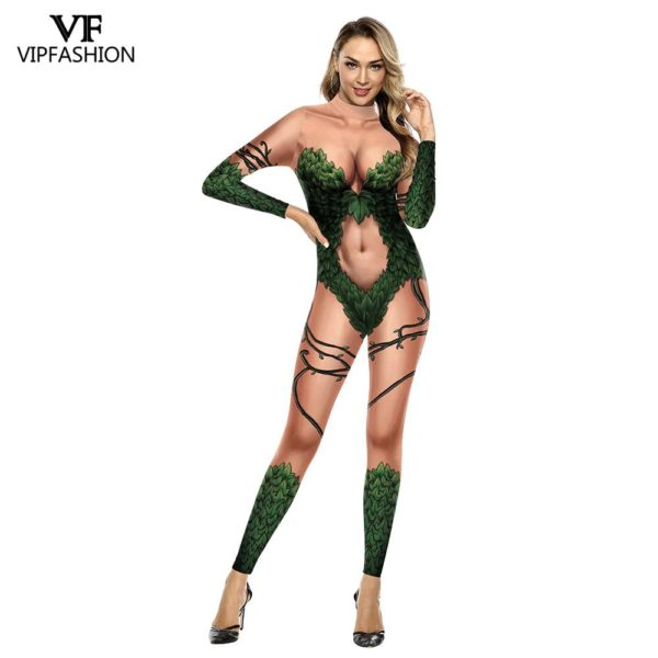 Batman Poison Ivy Costume - Halloween Cosplay - Fancy Dress Jumpsuit