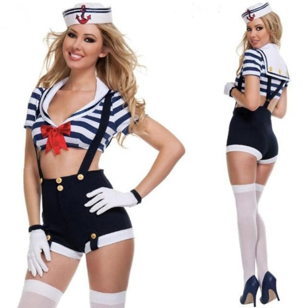 Cosplay Navy Sailor Suit - Sexy Striped Suspenders Dress