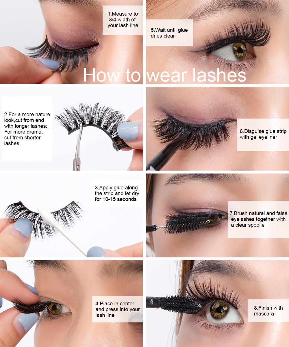5Pairs 3D Mink Hair False Eyelashes Natural/Thick Long
