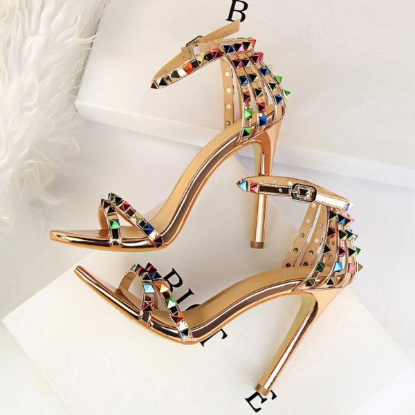 2020 Women 11cm High Heels Rivets Studded Sandals