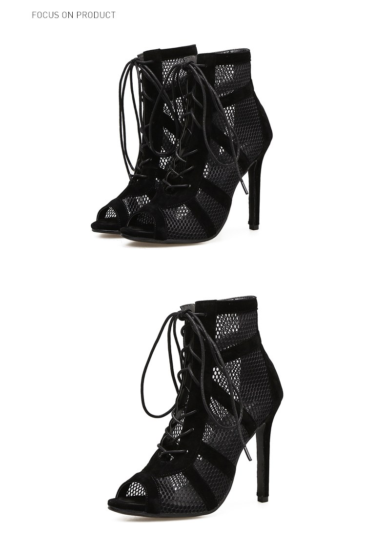 Fashion Black Summer Sandals - Lace Up Cross-tied Heel