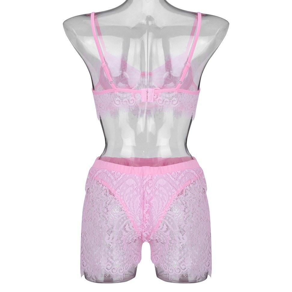 Women Sissy Lace Sexy Lingerie Plus Size Underwear Set S-XL