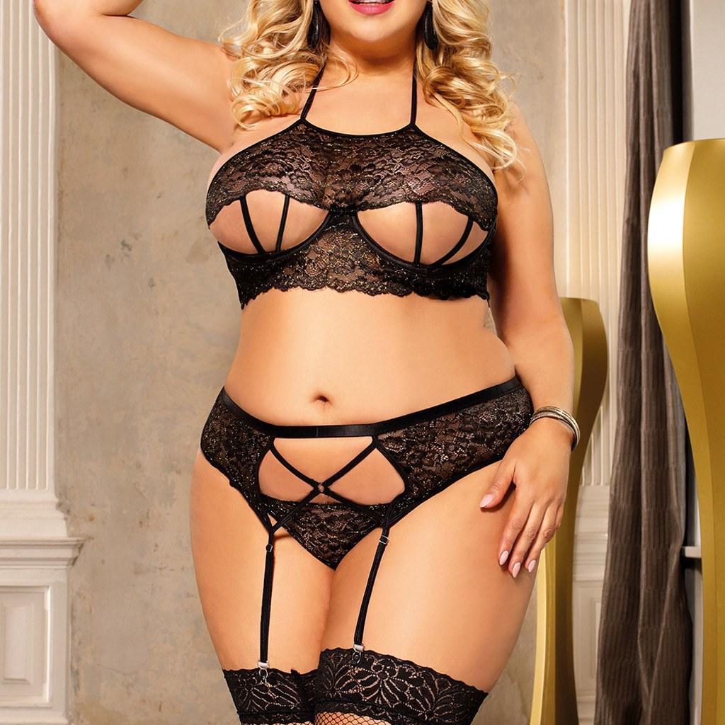 Lenceria Plus Size Women's Sexy Black Lace Underwear