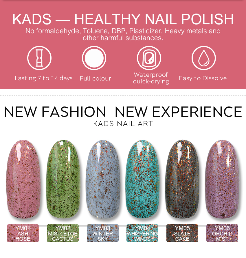KADS 9.5ml New Mica Nail Polish Colors Nail Art Polish