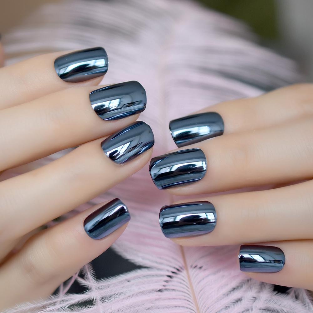 Blue Mirror Square Shiny Finger Nail Wrap - Fake Nail