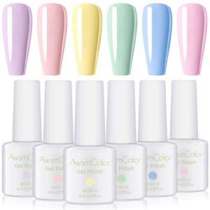 Gel Nail Polish Set, Pastel Color UV LED Gel Kit